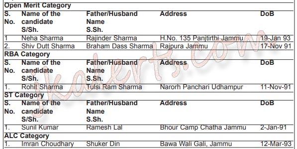 selection list Junior assistant