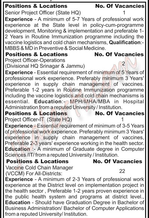 State Level Recruitment for eVIN Project in J&K.