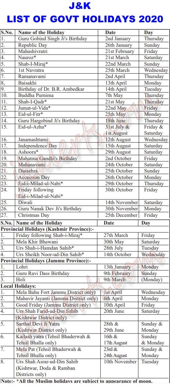 J&K Govt Holidays 2020