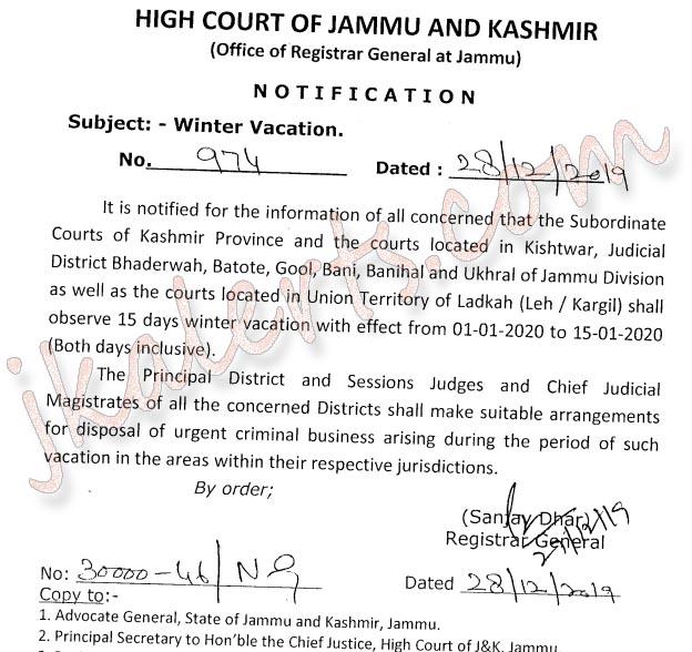 J&K High Court Winter Vacation 2020.