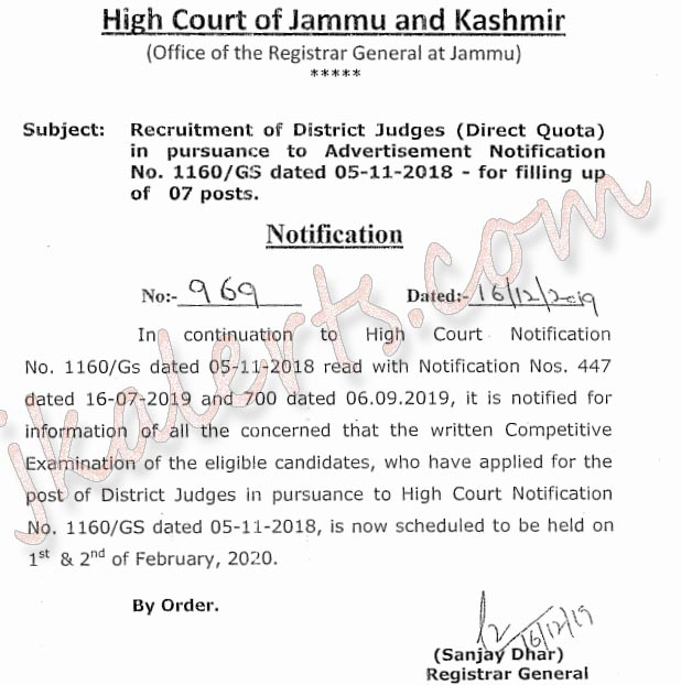 J&K High Court written test schedule