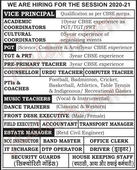 MV International School Jammu Jobs Recruitment 2020