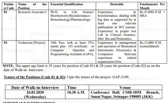 CSIR IIIM Jobs Recruitment 2020 Jammu