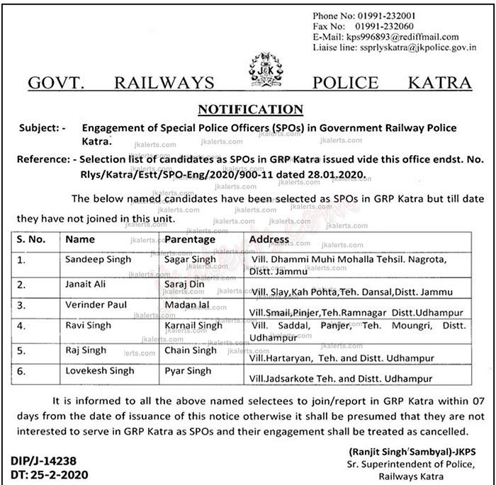 J&K Police Selection list of GRP Katra.