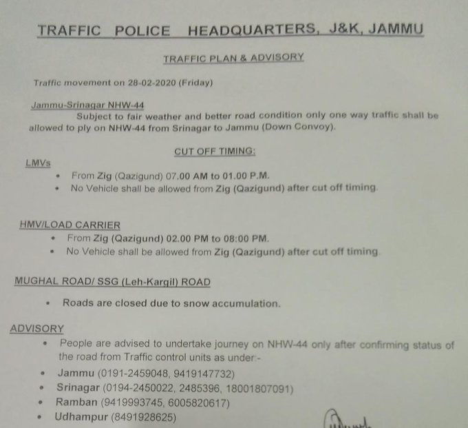 Jammu Srinagar National Highway Traffic update for 28-02-2020