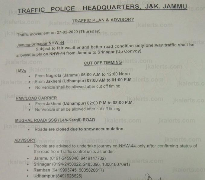 Jammu Srinagar National Highway Traffic plan for 27-02-2020.