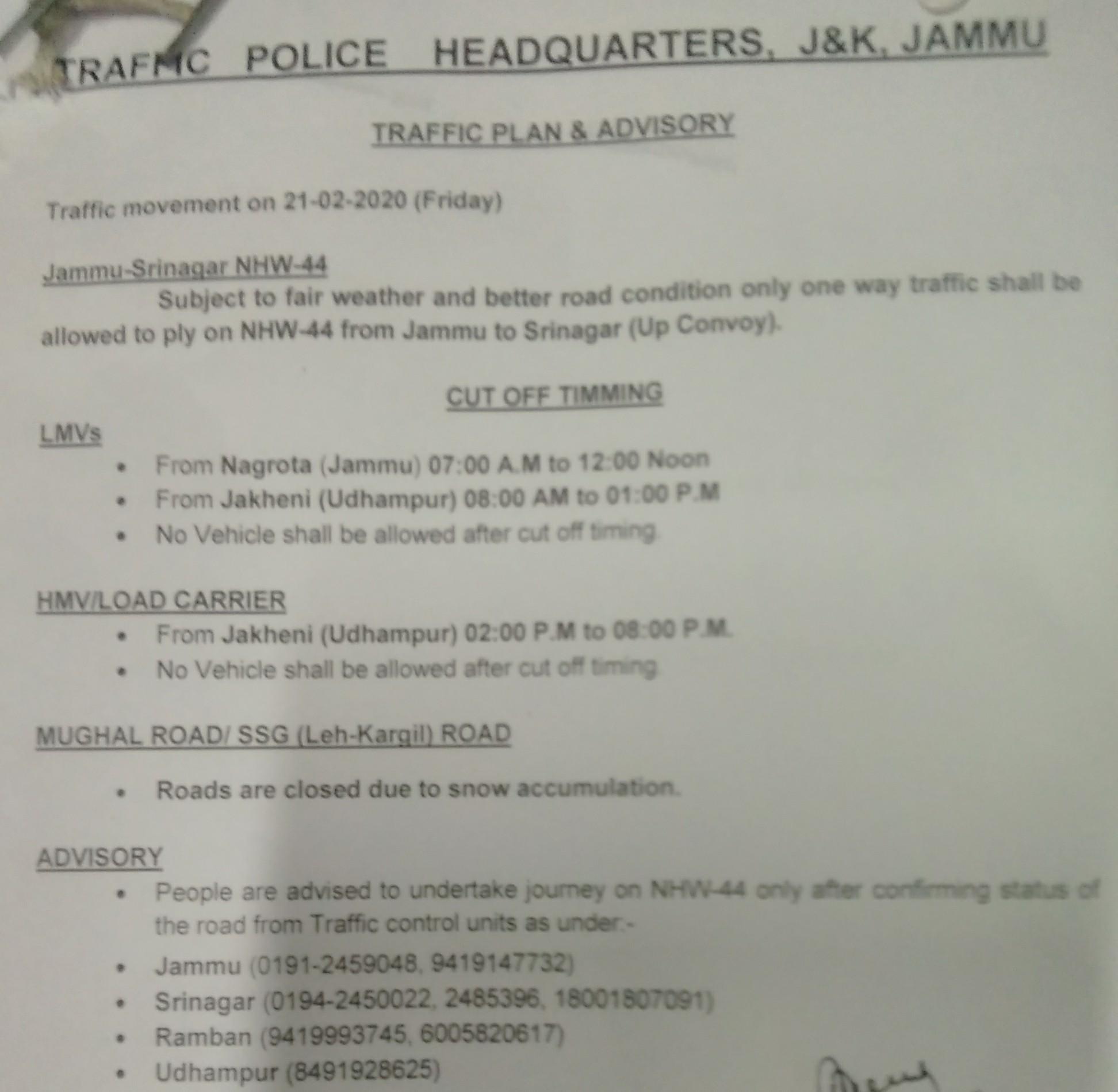 Jammu Srinagar NHW Traffic plan for 21-02-2020.