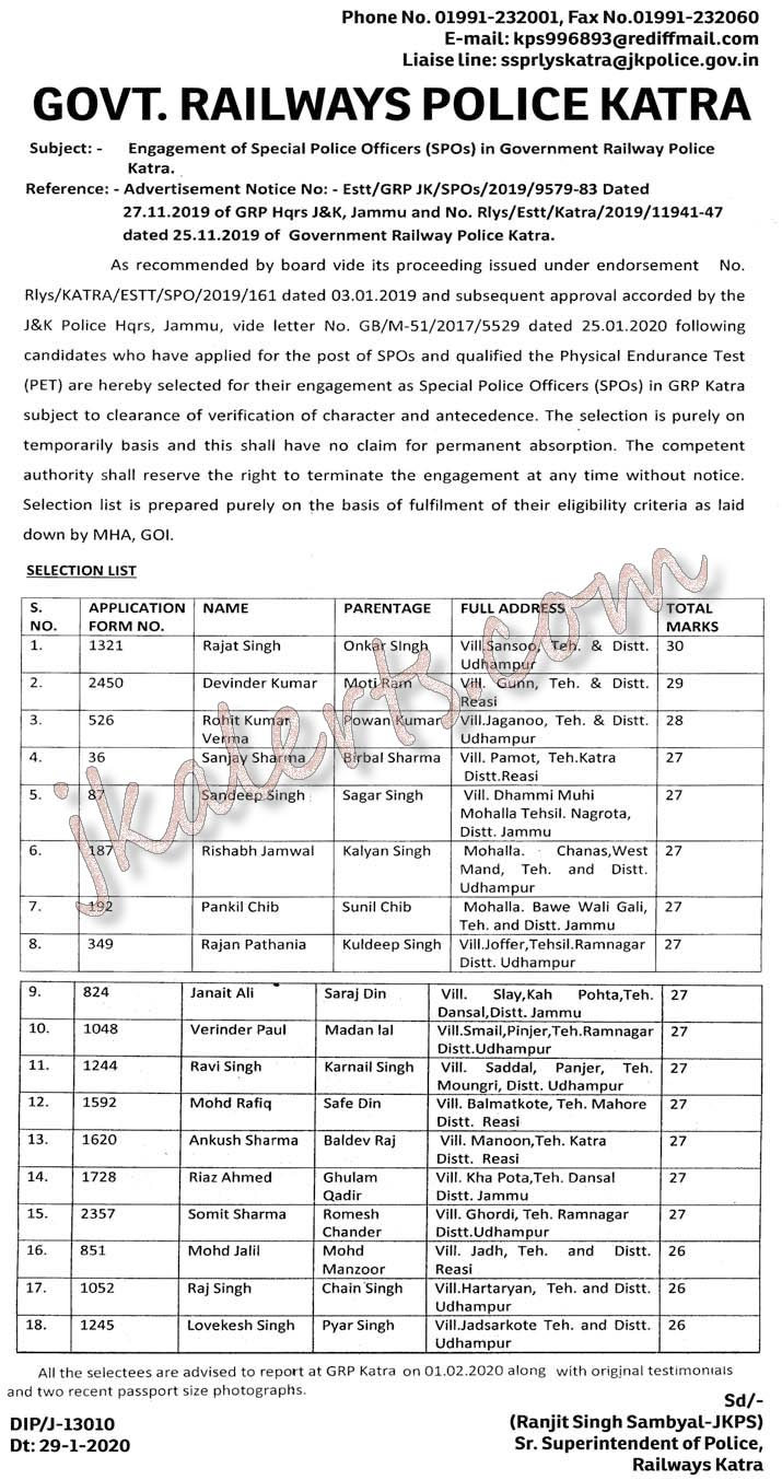 Selection list of SPOs in Government Railway Police GRP.
