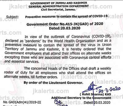 Government employees to attend their offices on alternate weeks.