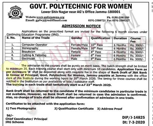Govt Polytechnic for women admission 2020.