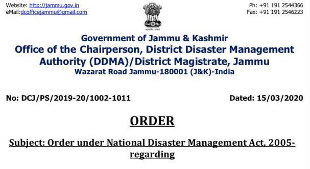 Important order ,District Administration Jammu.