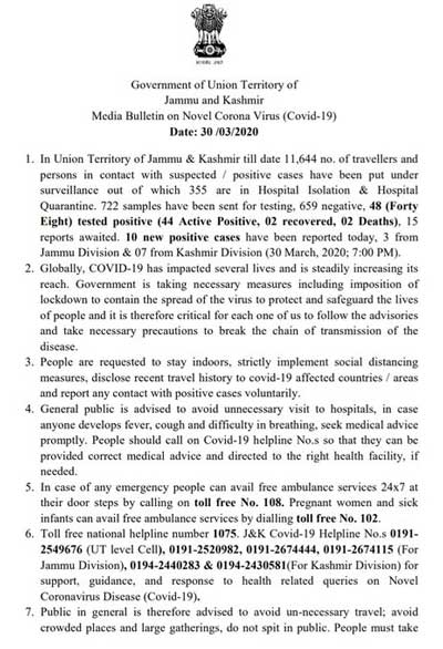 J&K Media Bulletin on Novel Coronavirus COVID19: 30th March.
