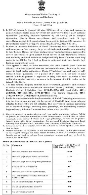 J&K Media Bulletin on Novel Coronavirus COVID19 22th March.