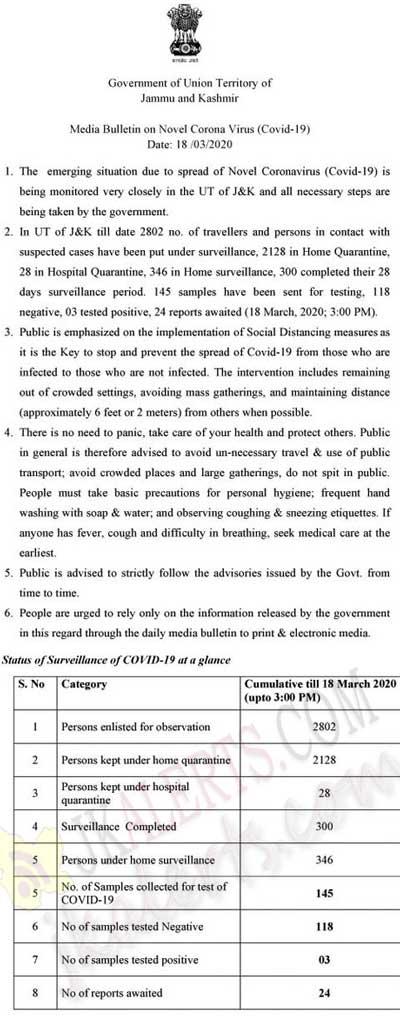 J&K Media Bulletin on Novel Coronavirus COVID19 18th March.