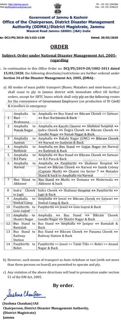 Restrictions on Public Transport in District Jammu 