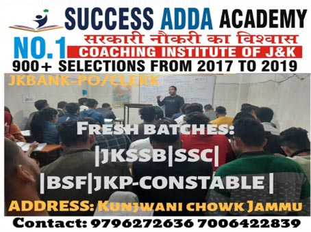 Join,Success Adda Academy No.1 Coaching institute of J&K,