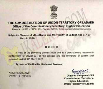 LG Ladakh, Orders Closure ,Colleges ,University ,Ladakh ,till 31st March.
