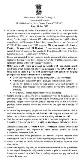 J&K Media Bulletin on Novel Coronavirus COVID19 11th April.
