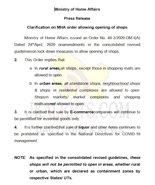 MHA issues clarification on order allowing the opening of shops.