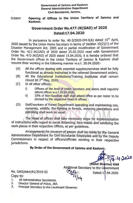 Govt orders partial resumption of offices from April 20, schools to remain closed