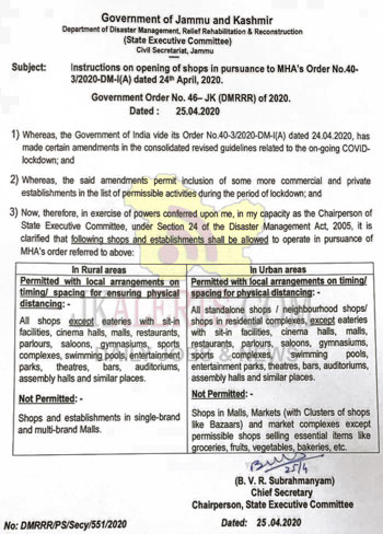 Jammu and Kashmir Govt has issued fresh guidelines to open shops.