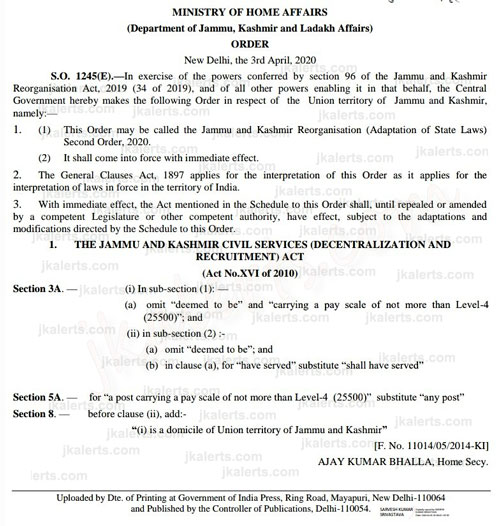 J&K Recruitment Act.