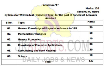 JKSSB Revised Syllabus for the posts of Accounts Assistant in Panchayat.