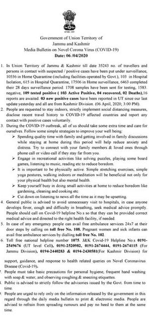 J&K Media Bulletin on Novel Coronavirus COVID19: 6th April.