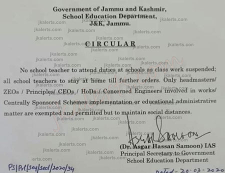 J&K School Education department order no school teacher to attend duties at School.
