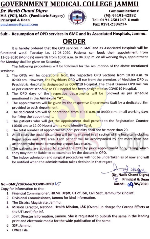 GMC Jammu and other associated hospitals OPD's Starts from May 12.