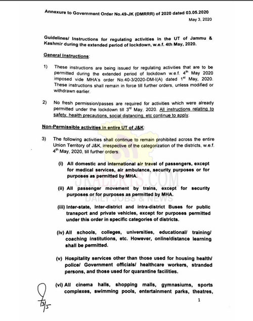 J&K Government issues instructions on lockdown measures w.e.f. 4 May 2020.