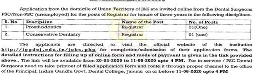 Indira Gandhi Dental College Jammu Jobs Recruitment 2020.