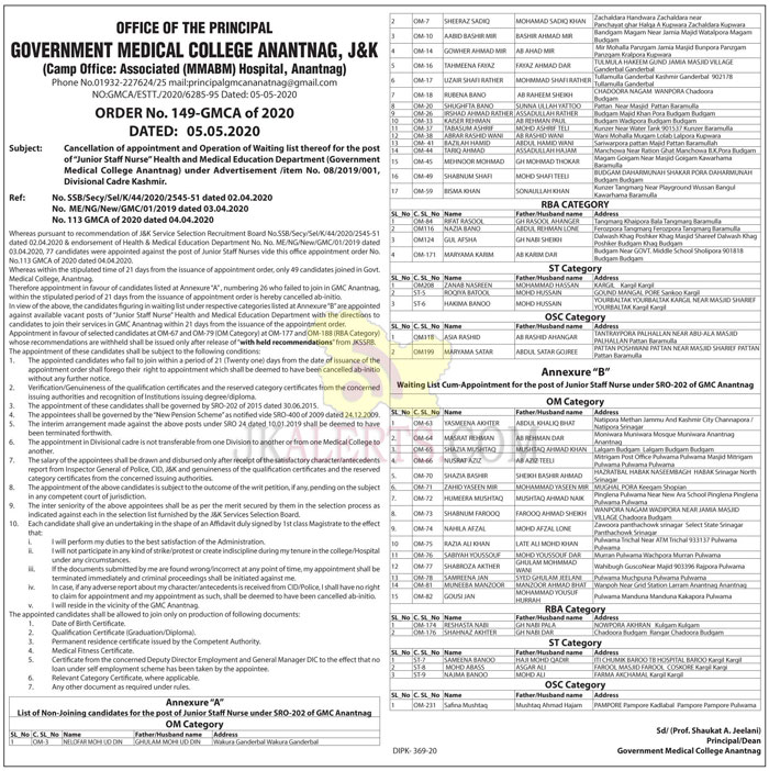 GMC Anantnag, Cancellation , appointment ,Operation ,Waiting list.