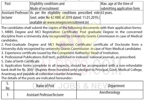 Assistant Professor/ lecturer on academic arrangement basis