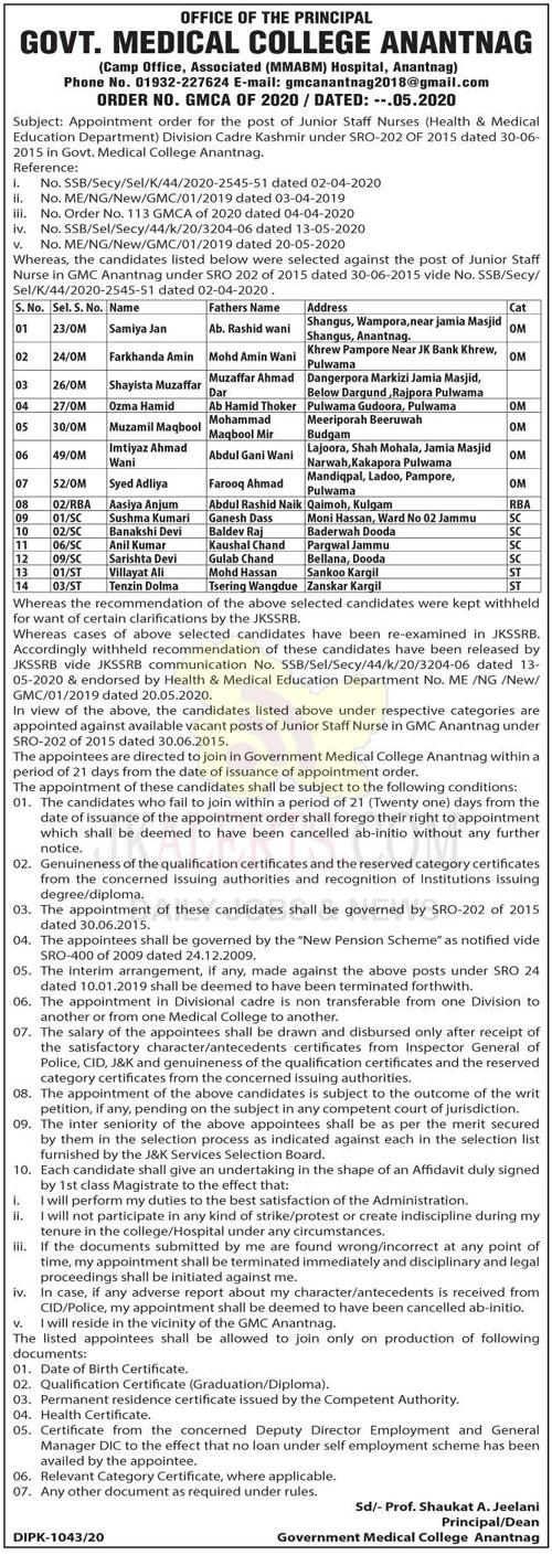 GMC Anantnag, Appointment order , post of Junior Staff Nurses.