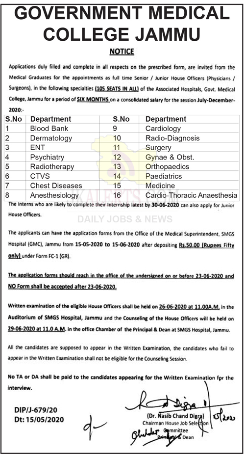 Govt Medical College, GMC Jammu, GMC Jammu Jobs, GMC Jammu Recruitment 2020.