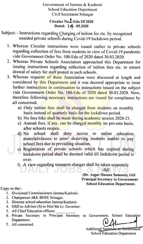J&K School Education Department instructs not to hike fee.