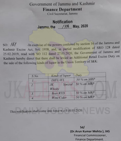 J&K Govt imposes Additional retail Excise Duty on the sale of Liquor