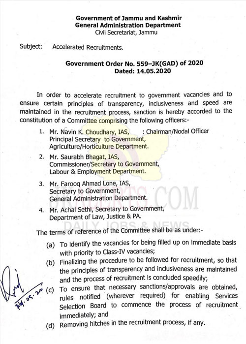 J&K Govt. constitutes a Committee to accelerate recruitment to Govt. vacancies.