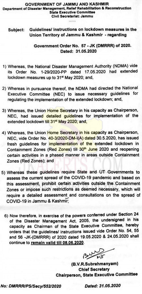 J&K Guidelines/ instructions on lockdown measures.