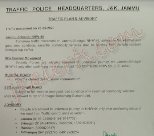 Traffic on Jammu Srinagar National Highway NHW44 for 28-05-2020.