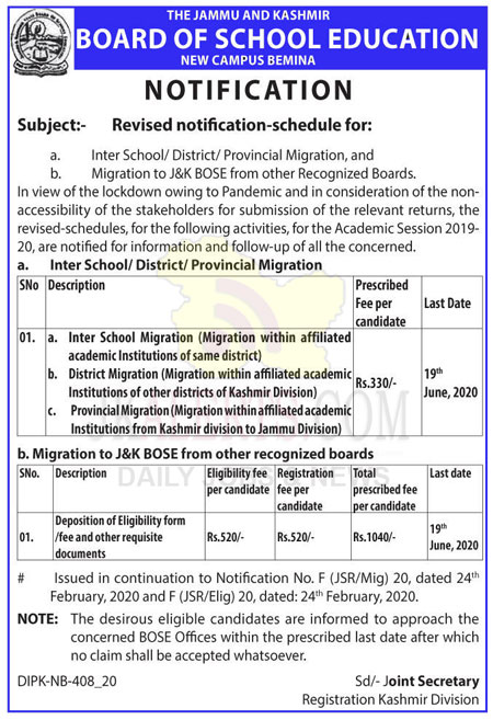 JKBOSE Revised notification-schedule for Inter School, District, Provincial Migration.