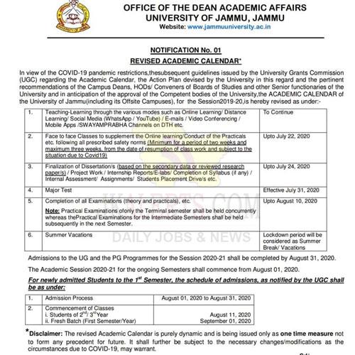 Jammu University Revised Academic Calendar 2020.