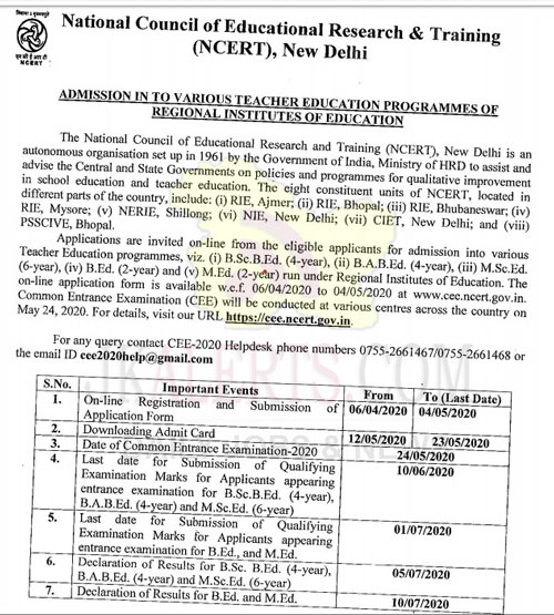 NCERT CEE for admission into various Teacher Education programmes.