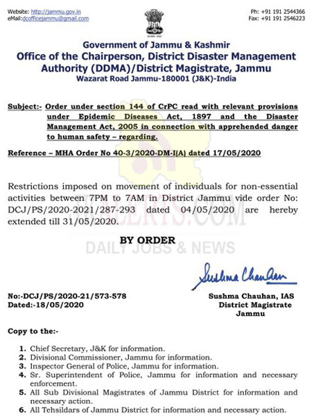 Restrictions, under Sec 144, extended till May 31, DC Jammu