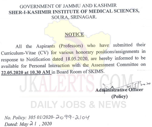 SKIMS notification for aspirants submitted CV for various positions.