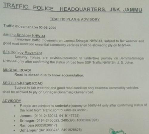 Today's Jammu Kashmir NH traffic Update.