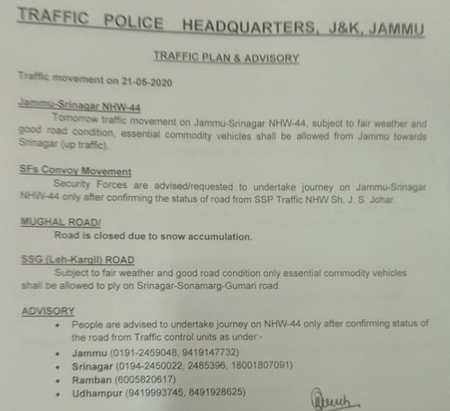 Traffic on Jammu Srinagar National Highway NHW44 for 21-05-2020
