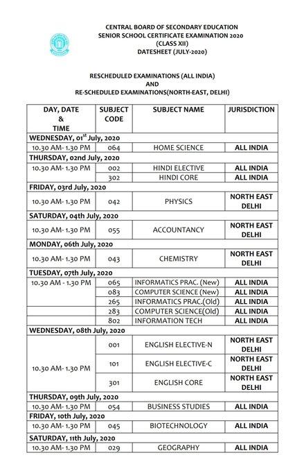 CBSE Board Class 10, Class 12 Remaining Exam Date Sheet 2020