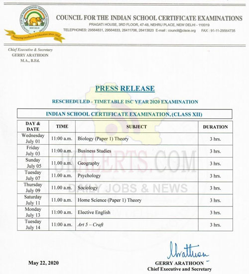 CISCE board examinations for the remaining subjects/papers of class 10th, 12th.